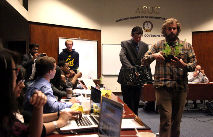 Members of Occupy the Farm stopped by the ASUC Senate meeting on Wednesday night, and gave plants to all of the senators. Later that evening, the senate passed a bill to support the Occupy the Farm movement.