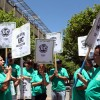 Arnold Meza speaks during the AFSCME 3299 rally. The rally consisted of a  group of University of California employees marching on the corner of Bancroft and Telegraph as part of their first kick-off action for a better contract.