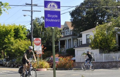 A bicycle boulevard on Milvia Street in Berkeley.