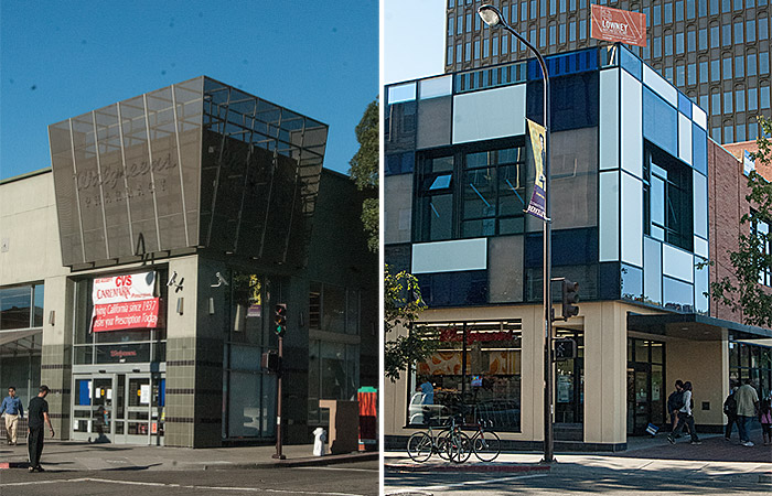 Shown on the left is the old building that Walgreens used to occupy, and on the right is the new building where they will move.