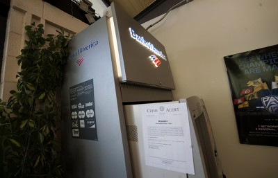 A crime alert is taped to the Bank of America ATM in the GBC due to a robbery which occurred this past week.