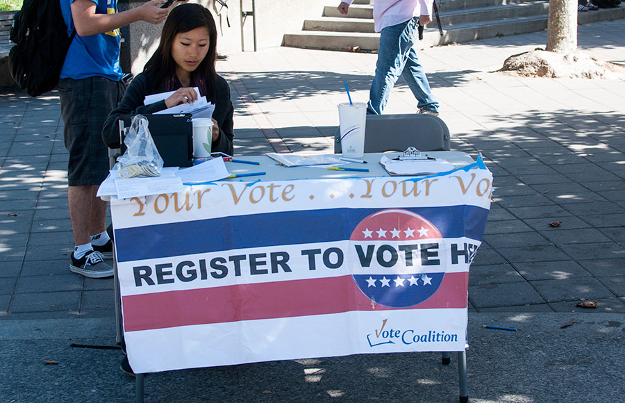 The ASUC set up a table on Sproul to encourage students to register to vote. This process can now be done online and is expected to increase voter registration in students.