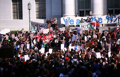 During a November 9th walk-out, students protested against fees on upper Sproul and planned to march to Bank of America on Telegraph.