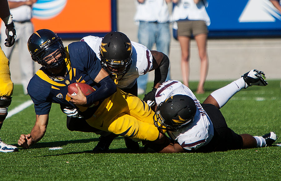 Quarterback Zach Maynard took six sacks on the day in Cal's 27-17 loss to Arizona State.