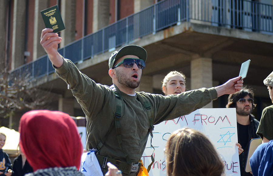 A protester shouts during an Apartheid week protest on February 28, 2012. A lawsuit is underway as a result of these protests.