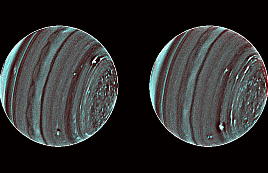A new technique developed by a team of astronomers shows the two faces of Uranus, in previously unattainable detail, through the Keck II telescope in Hawaii.
