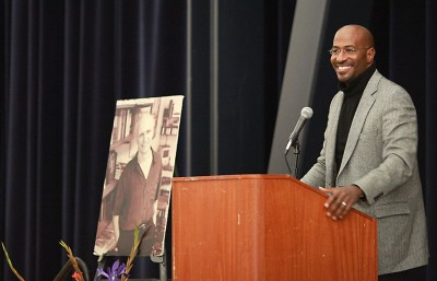 Van Jones performs the annual Mario Savio speech in Pauley Ballroom Wednesday evening.