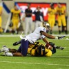 Wide receiver Maurice Harris drops a ball near the goal line in Cal's 21-13 loss to Washington on Friday night.