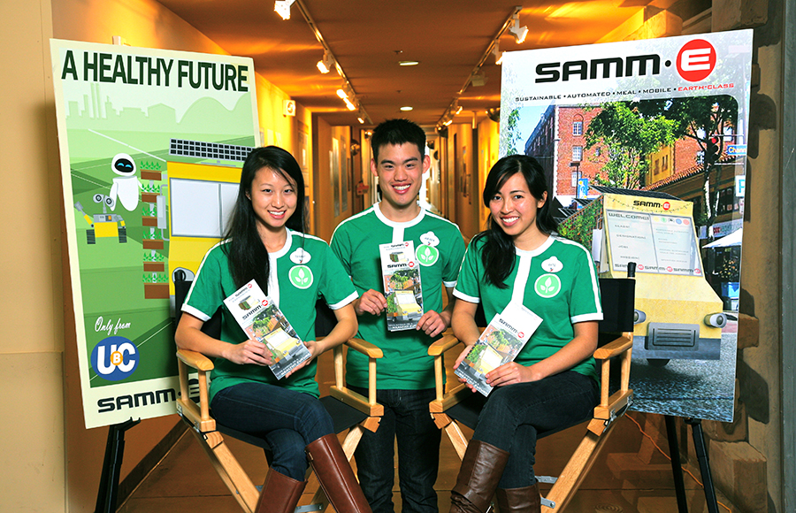 """The UC Berkeley finalist team of the 2013 ImagiNations Competition with their project """"SAMM-E: Sustainable Automated Meal Mobile."""" From left to right: Tiffany Yuan, Andrew Lin, Kathryn Moore"""