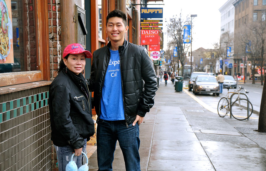 Food truck owners, Michael Koh, of Dojo Dog and Ann Vu of Healthy Heavenly Foods (pictured above) had to move off the property in December to make room for Lower Sproul construction.