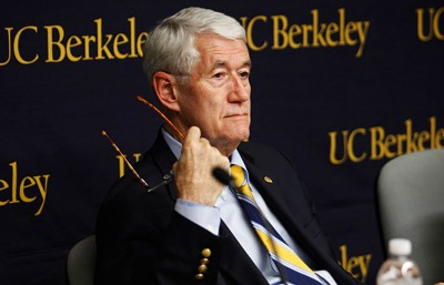 Former UC Berkeley chancellor Robert Birgeneau at the press conference to announce that four Cal sports teams were being cut in 2010.