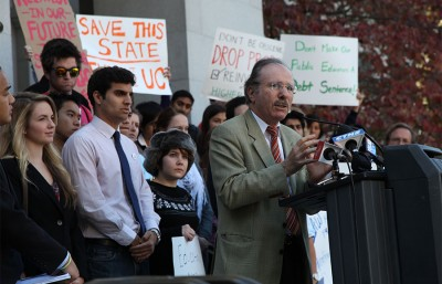 Executive Vice Chancellor and Provost George Breslauer speaks in Sacramento at a rally with students in support of higher education in 2011.