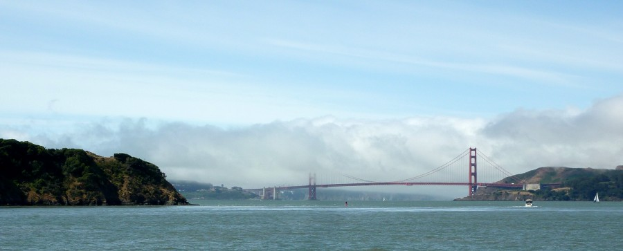 The view of the Golden Gate Bridge from the Tiburon-Angel Island ferry.