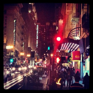 A street off Powell Street Bart Station in San Francisco. #SanFranciscan #nightlife