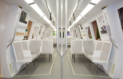 Replica of a preliminary design for a new BART train.
