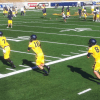 Austin Hinder (7), Jared Goff (16) and Zach Kline (8) take reps at quarterback during the first day of fall camp.