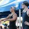 Missy Franklin (right) stands next to Cal women's swimmer Elizabeth Pelton (left) before the 200 IM at the 2013 Santa Clara Grand Prix.