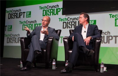 Lt. Gov. Gavin Newsom discusses higher education at TechCrunch in San Francisco.