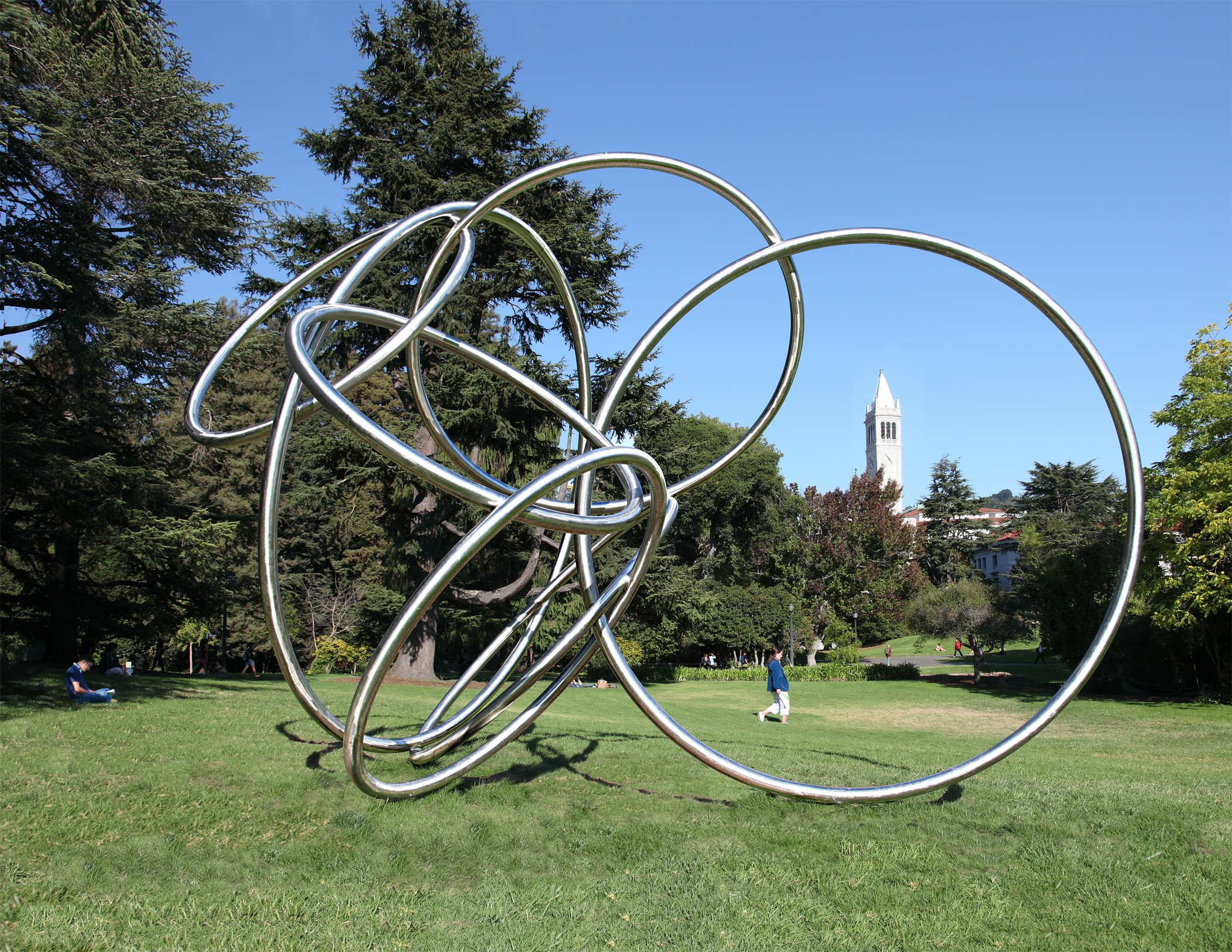 """This """"Rondo"""" series sculpture, near the Valley Life Sciences Building, offers a picturesque outline of the Campanile. """"Rondo,"""" a musical term, is an allusion to something that is circular."""