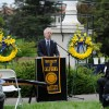 UC Berkeley Chancellor Nicholas Dirks speaks at the annual campus memorial service at the flagpole west of California Hall.
