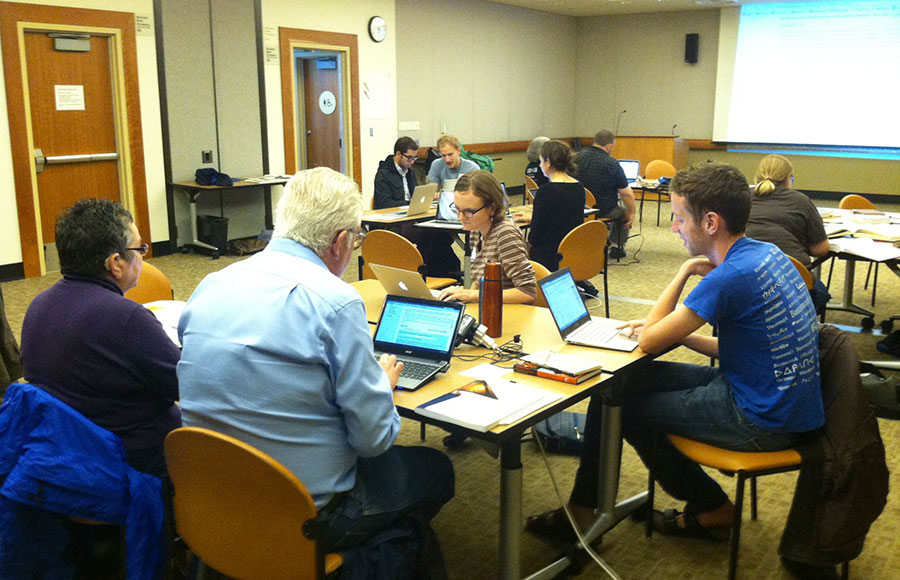 More than a dozen from across Northern California congregate at Central Berkeley Public Library for the Wikipedia Edit-a-Thon, at which participants edited and created new articles for the website.