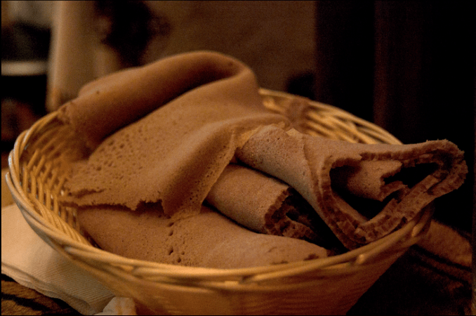 Injera in a basket. A key part of a traditional Ethiopian meal.