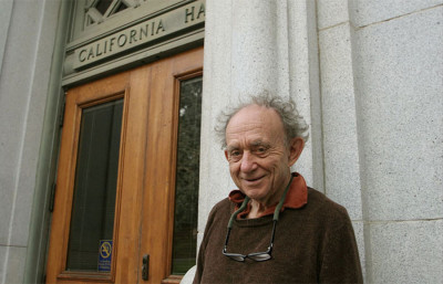 "Documentarian Frederick Wiseman stands in front of California Hall in 2010 during filming of ""At Berkeley."" The documentary will premiere on campus this week and opens in theaters on Friday."