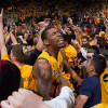 Richard Solomon celebrates the win over No. 1 Arizona after Cal fans rushed the court.