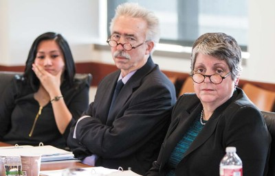 ASUC President DeeJay Pepito (left), UC Berkeley Chancellor Nicholas Dirks and UC President Janet Napolitano meet with various ASUC officials, many of whom were critical of the head of the university's past policies and career.