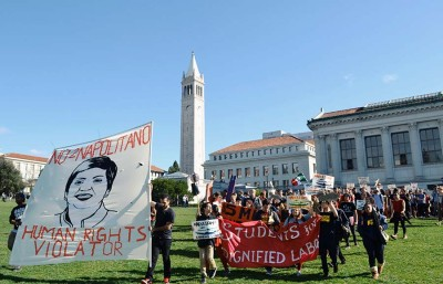 Protests happened around campus intermittently to voice their discontent against UC President Janet Napolitano's visit to UC Berkeley.