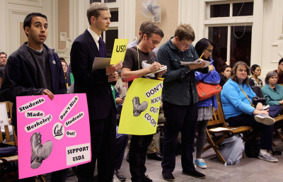 UC Berkeley students express their support for the United Student District Amendment map at a Berkeley City Council meeting Dec. 3.