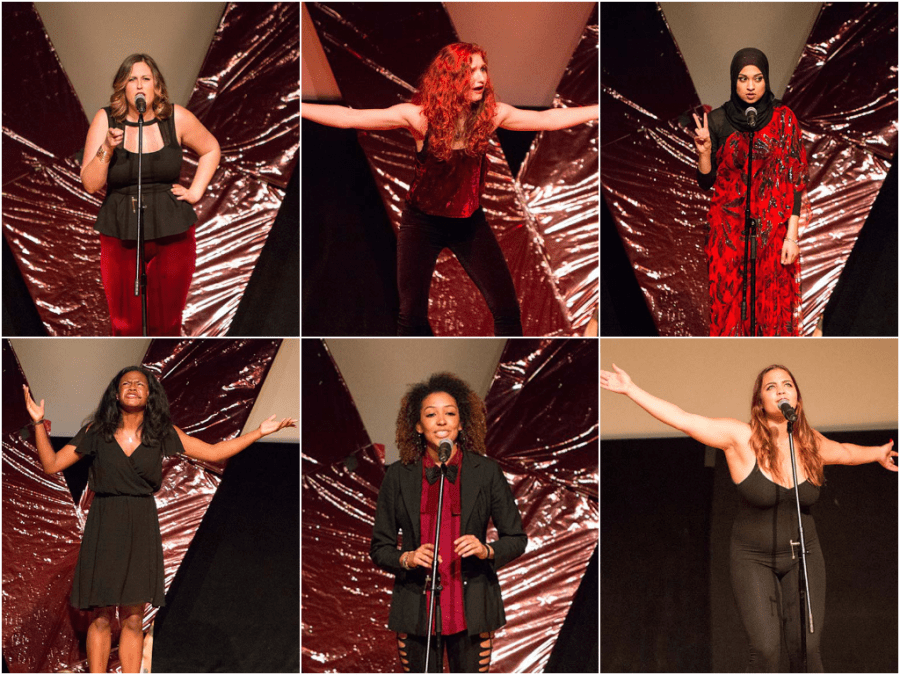 "From top left in clockwise order: Jordan Meyers, Daryl Barth, Sadia Saifuddin, Allie Del Conte, Alexandria Lewis, and Natasha Brown speak in UC Berkeley's 13th annual performance of ""The Vagina Monologues."""