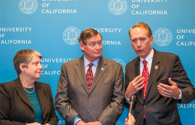 UC President Janet Napolitano, left, CSU Chancellor Timothy White and California Community Colleges Chancellor Brice Harris speak after a UC Board of Regents meeting Jan. 22 in San Francisco. The three met to discuss how to address ongoing issues in the state's higher education system.