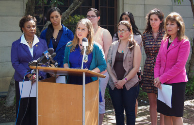 UC Berkeley junior Sofie Karasek, speaking, and other student survivors of sexual assault met with Rep. Barbara Lee, far left, and Rep. Jackie Speier, far right, to discuss campus sexual assault policies with Chancellor Nicholas Dirks.