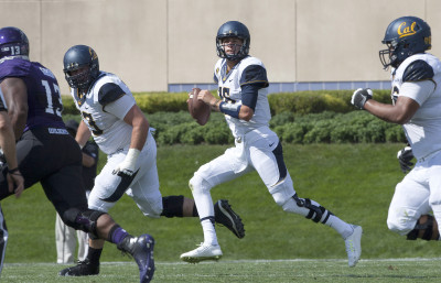 Cal quarterback Jared Goff looks to pass during the first half against Northwestern in Evanston, Illinois.