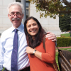 Janaki Bakhle poses on campus with her husband, UC Berkeley Chancellor Dirks