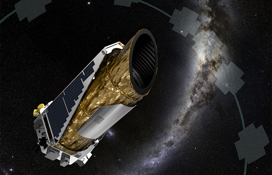 This artist's rendition shows NASA's planet-hunting Kepler spacecraft operating in a new mission profile called K2.