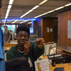 Work-study jobs on campus range from foodservice in one of CalDining's many locations on campus to checking residents in and out of the Residence Halls. Solomon Nwoche, who graduated this past winter but took advantage of the option to extend his work-study position for an extra semester, attends the Moffitt Front Desk.