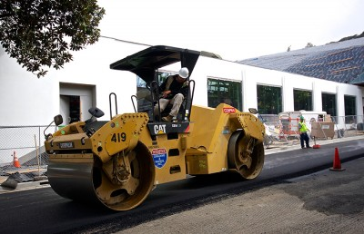 A stretch of Center Street in front of the new Berkeley Art Museum building is repaved through funding provided through UC Berkeley. To address a deferred building maintenance backlog of $16.39 million, the city is looking to appropriate $1.1 million annually for five years to add to its public works budget to fund tasks such as repavement.