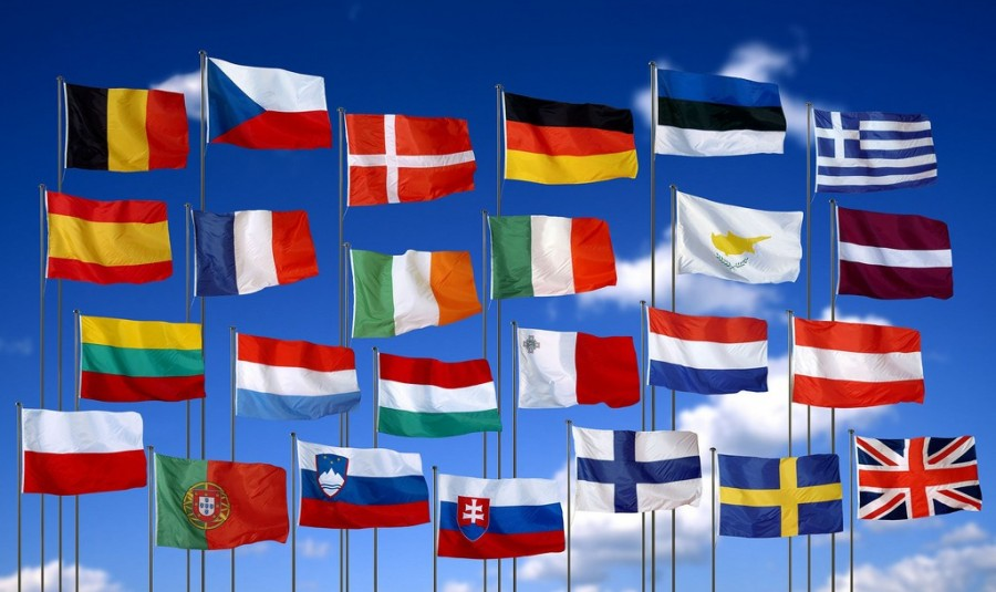 Flags representing European nations.