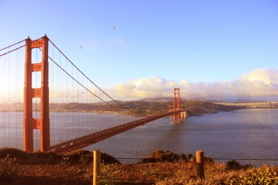 The Golden Gate Bridge as seen from Battery Spencer
