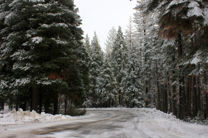 Snowy road in Yosemite National Park