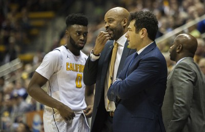 Yann Hufnagel, right, stands with Cal head basketball coach Cuonzo Martin