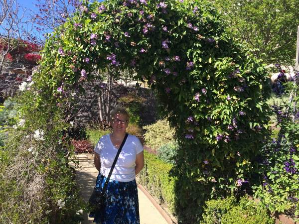 My mom as an ethereal goddess in the garden at The Getty.