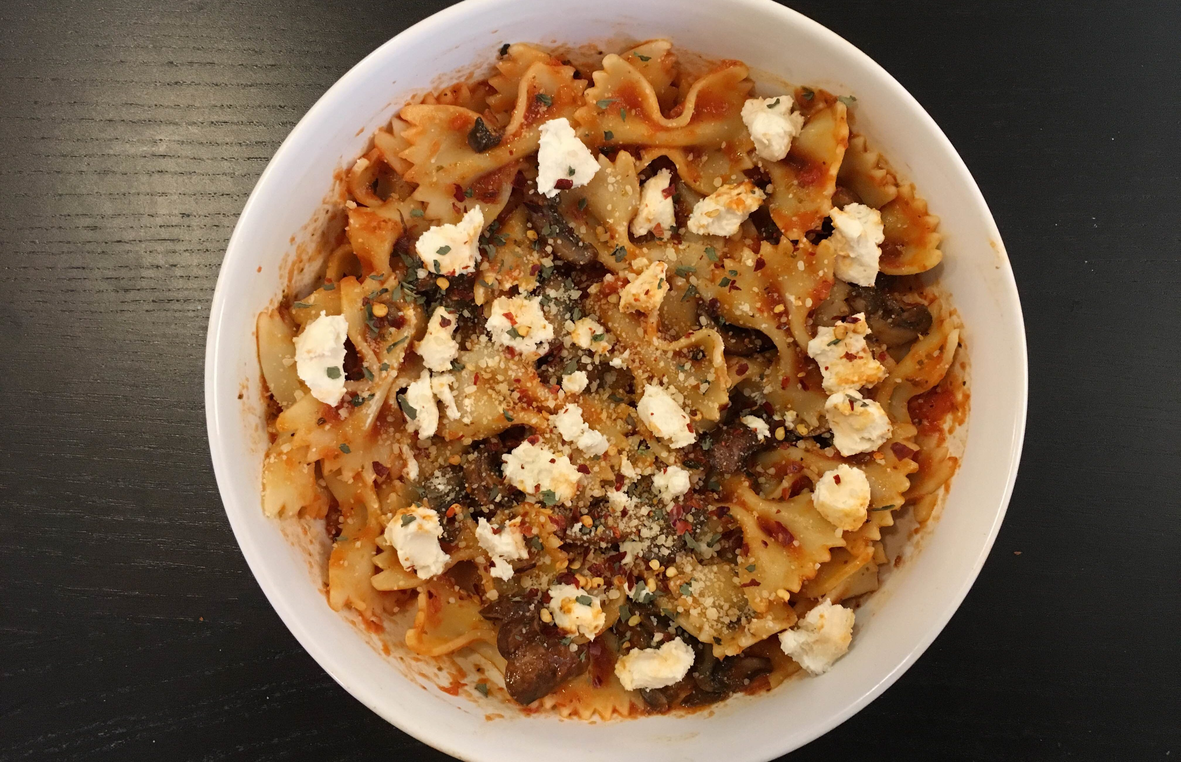 Mushroom and goat cheese farfalle