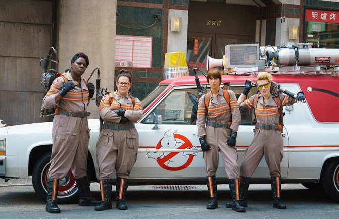 Ghostbuster's Patty Tolan (Leslie Jones), Abby Yates (Melissa McCarthy), Erin Gilbert (Kristen Wiig) and Jillian Holtzmann (Kate McKinnon) in Columbia Pictures' GHOSTBUSTERS.