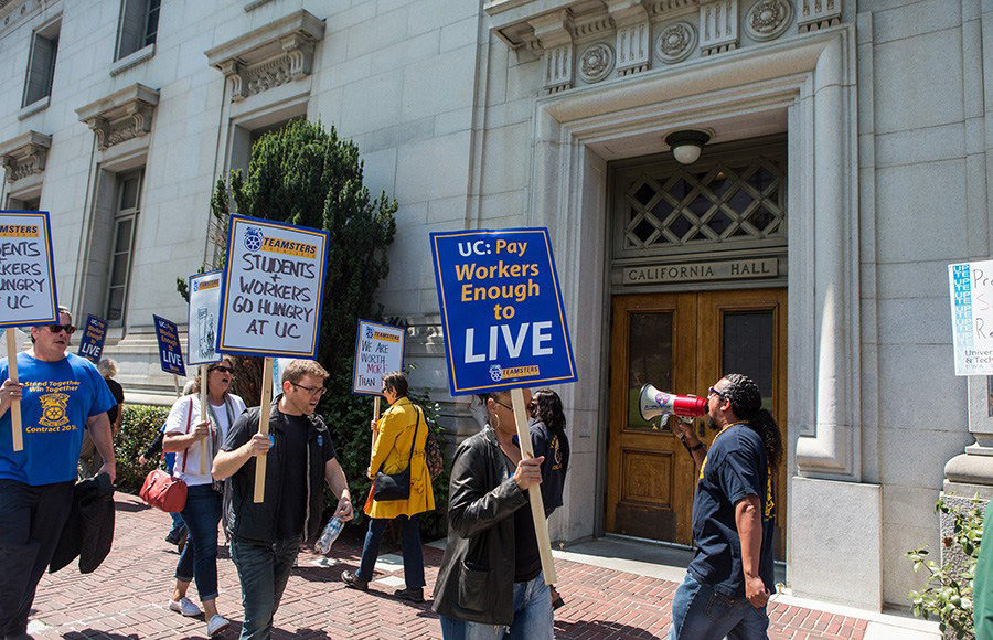 Teamsters Local 2010 stage a protest in front of California Hall in August 2016 demanding living wages and greater pension benefits for UC workers.