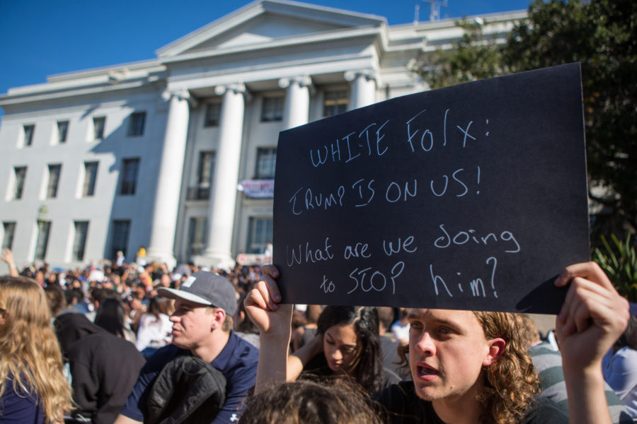 UC Berkeley senior Tucker Pinochi seeks the support of caucasian allies at a Donald Trump protest on Berkeley's campus on Wednesday, November 9, 2016 in Berkeley, Calif. (Rachael Garner/Senior Staff)