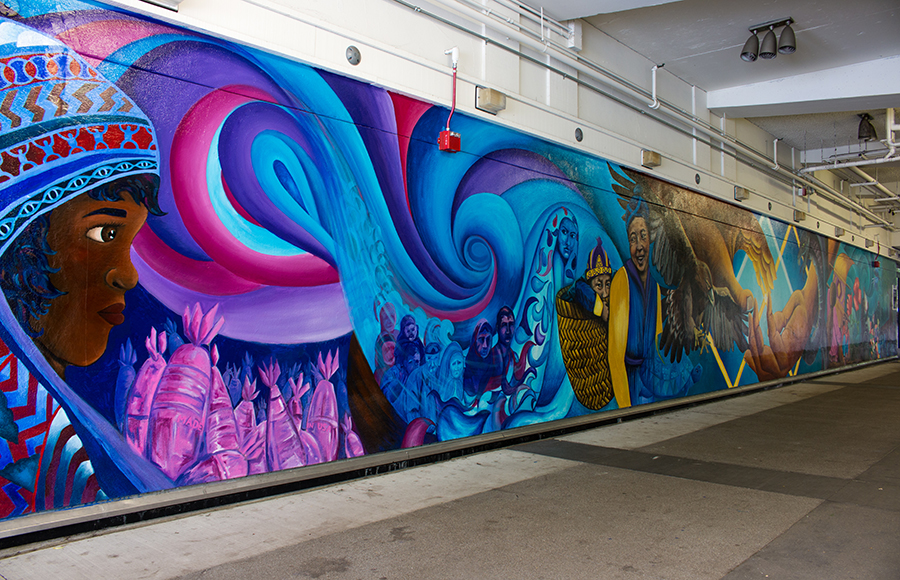 UC Berkeley students paint social justice-themed mural at Cesar Chavez Student Center