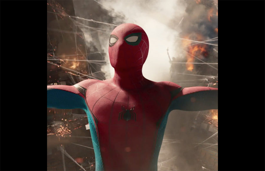 "A screengrab of a Facebook-formatted trailer for ""Spiderman: Homecoming"""